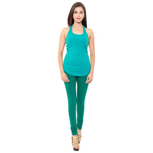 Dark Green Colour Chudidar Cotton Lycra Leggings