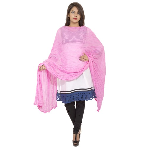 BABY PINK COTTON DUPATTA WITH PAM PAM LACE
