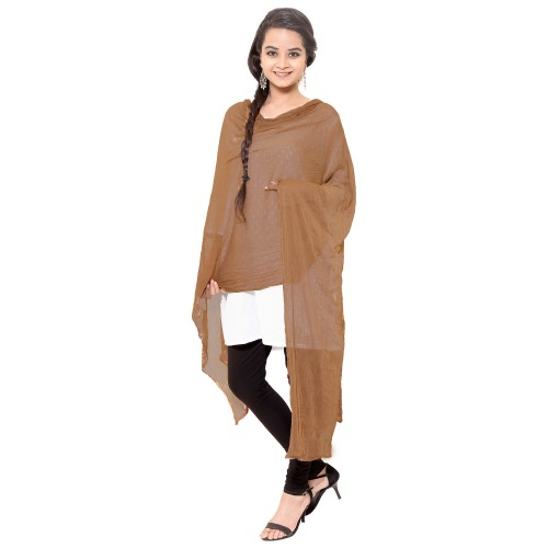BROWN COTTON DUPATTA WITH PAM PAM LACE