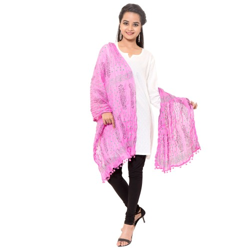 COTTON BABY PINK PRINTED DUPATTA WITH PAM PAM LACE