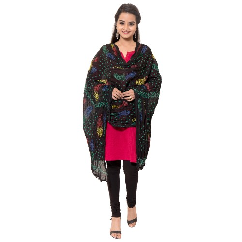COTTON BLACK PRINTED DUPATTA WITH PAM PAM LACE