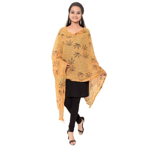 COTTON BEIGE PRINTED DUPATTA WITH PAM PAM LACE