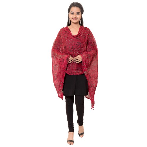 COTTON MAROON PRINTED DUPATTA WITH PAM PAM LACE