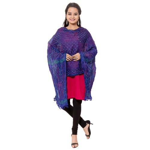 COTTON NAVY BLUE PRINTED DUPATTA WITH PAM PAM LACE