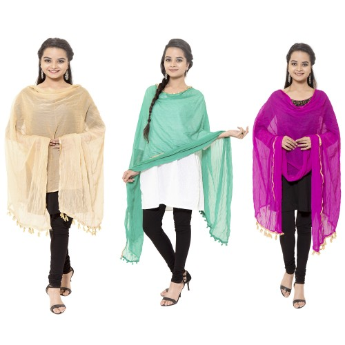 CHIFFON DUPATTA WITH ZARI BORDER PACK OF 3 BEIGE RAMA PINK